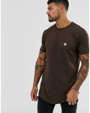 Le Breve raw edge longline t-shirt-Brown