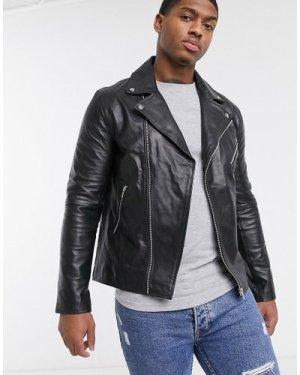 Le Breve real leather biker jacket-Black