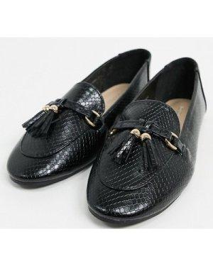 London Rebel Wide Fit tassel loafers in black