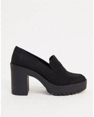 London Rebel heeled loafers in black