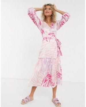 Liquorish wrap tie midi dress in pink and lilac animal print-Multi