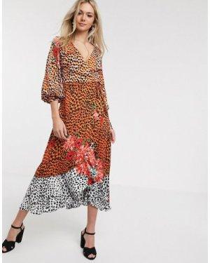 Liquorish wrap front satin midaxi dress in animal floral-Multi