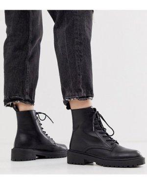 RAID Exclusive Micah black lace up flat boots