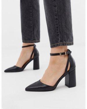 RAID Katy black snake heeled shoes