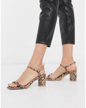 RAID Elisa mid heeled sandals in natural snake-Beige