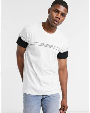 Calvin Klein Jeans colourblock logo tape t-shirt in white