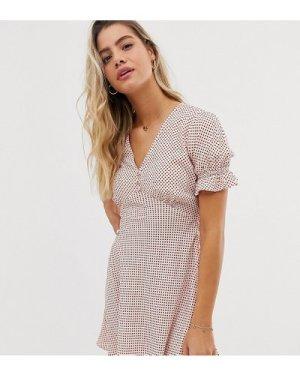 Wednesday's Girl mini tea dress with flutter sleeves in spot print-White