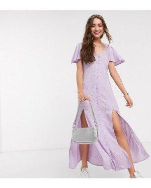 Miss Selfridge Petite angel sleeve ditsy maxi dress in lilac-Purple