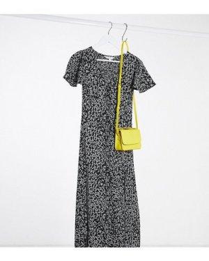 Miss Selfridge Petite angel sleeve ditsy maxi dress in black