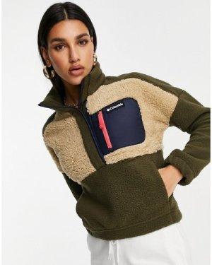 Columbia Lodge Sherpa pullover fleece in green/cream