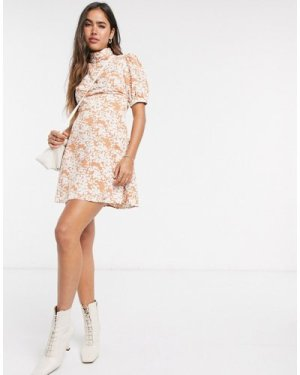 Fashion Union mini dress with high neck and puff sleeve in two tone floral-Brown