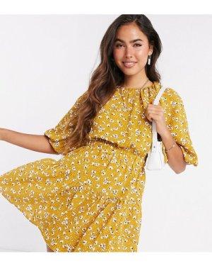 Fashion Union mini puff sleeve dress in yellow spot floral