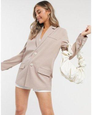 Fashion Union blazer co-ord-Beige