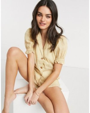 Fashion Union Exclusive beach shirt with puff sleeve in mustard wave print co-ord-Yellow