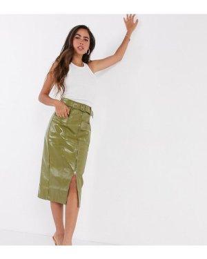 Fashion Union patent pu skirt with belt-Green