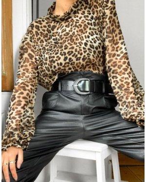 Mango leopard blouse in multi