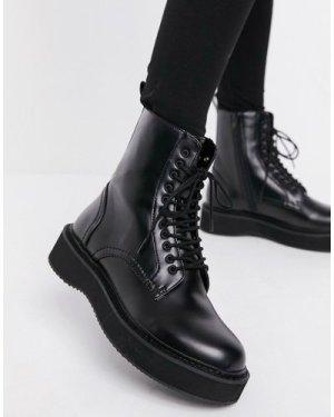 Mango lace up biker boot in black