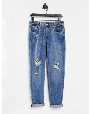 Mango distressed skinny jeans in blue