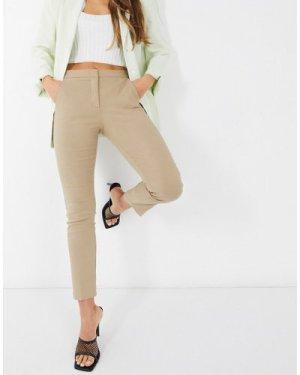Mango slim leg trousers in brown