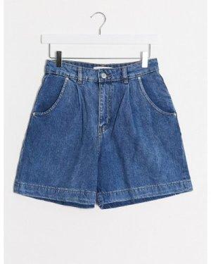 Mango slouchy denim shorts in medium blue