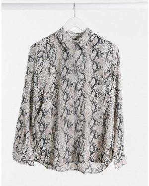 Mango button front snake print shirt in grey