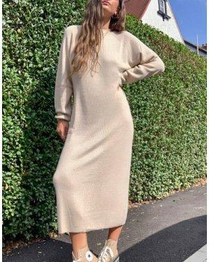 Mango knitted jumper dress in beige