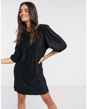 Mango self print dress in black