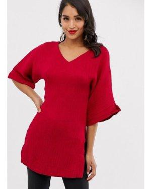 Closet long sleeve kimono tunic top-Red