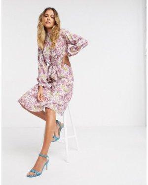Closet London high neck puff sleeve midi dress in ivory floral-Multi