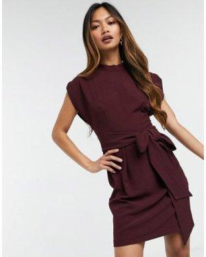 Closet London tie waist mini dress in plum-Purple