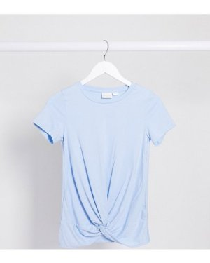 Mamalicious Maternity t-shirt with knot front in baby blue