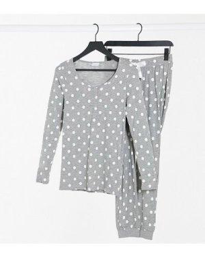Mamalicious Maternity pyjama set with nursing function in grey polka dot-Multi