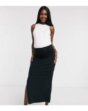 Mamalicious Maternity organic jersey maxi skirt in black