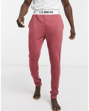 Le Breve mix and match lounge joggers in burgundy marl-Red