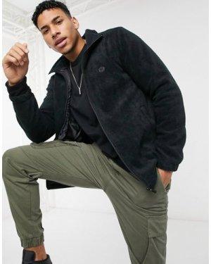 Le Breve fleece funnel neck jacket in black
