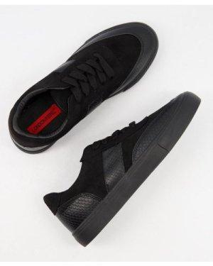 London Rebel side stripe lace up trainers in black