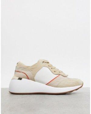 London Rebel retro runner in white and beige