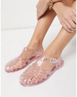 London Rebel flat jelly shoes in clear
