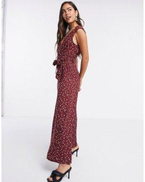 Liquorish sleeveless jumpsuit in burgundy bird print-Multi