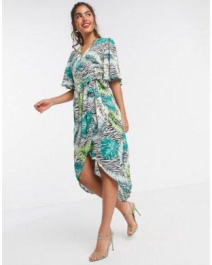 Liquorish kimono sleeve midi dress in animal print-Multi
