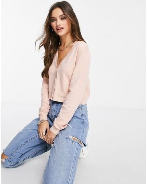 Liquorish cropped V neck cardigan with gold buttons in dusky pink