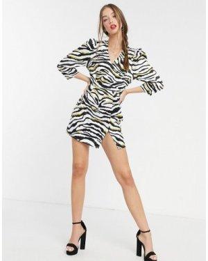 Liquorish mini dress with 3/4 length sleeves in zebra print-Multi