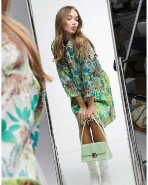 Liquorish mini shirt dress in tiger print-Multi