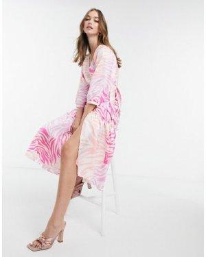 Liquorish midi wrap dress in pink zebra print