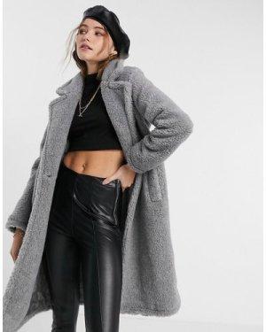 Liquorish midi teddy coat in grey