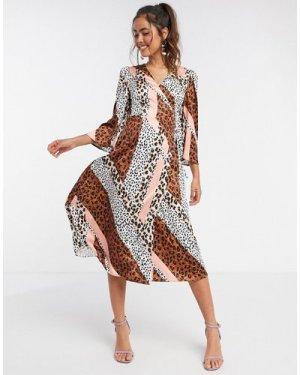 Liquorish kimono sleeve midi dress in panelled animal print-Multi