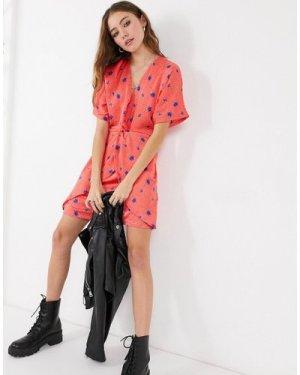Liquorish mini dress in red floral-Multi