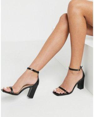RAID Dania square toe heeled sandals in black croc