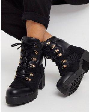 RAID Acorn chunky hiker boots in black mix