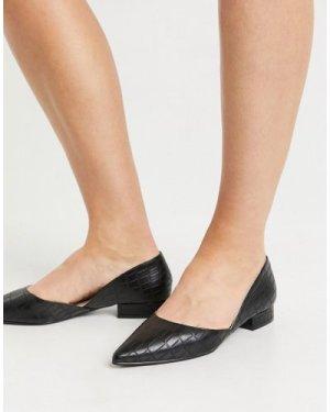 RAID Harvey two part flat shoes in black croc